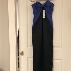 Halston Heritage royal blue and black gown